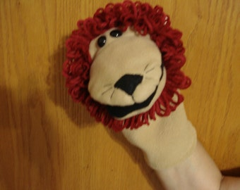 Lion movable mouth hand puppet fleece fabric acrylic yarn speech therapy visual aid