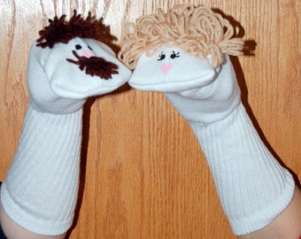 Mother and  Father Sock Puppets visual aid classroom story counting skills