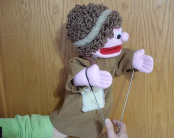 Bibllical boy shepherd Bible  hand puppet  movable mouth arm rods adult size puppets by margie