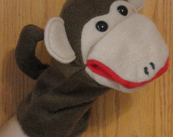 Monkey hand puppet moveable mouth fleece fabric
