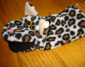Leopard Cat Feline Hand Puppet fleece fabric