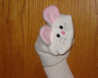 Mouse with grey ears and pink lining Sock Puppet Puppets by Margie