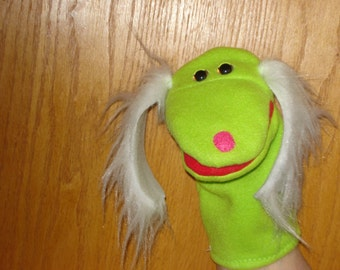 Apple Green Dog with White Ears Faux Fur