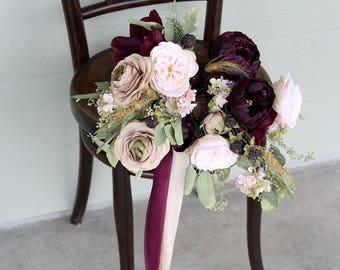 Marsala Wine Silk Flower Wedding Bouquet | Beige and Light Peach | Preserved Eucalyptus Bridal Bouquet | SG-1062