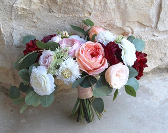 Large Silk Flower Wedding Bouquet | Burgundy, Coral, Pink and Cream | Over-sized Garden Style Bridal Bouquet | SG-1054