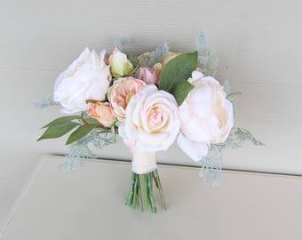 Silk Flower Wedding Bouquet | Cream, Blush, Light Peach and Gray-Green | Garden Inspired Bridal Bouquet | SG-1003