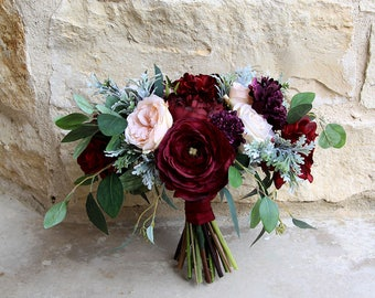 Burgundy Bridal Bouquet | Moody Romantic Garden Style | Burgundy, Deep Purple and Light Peach | SG-1065