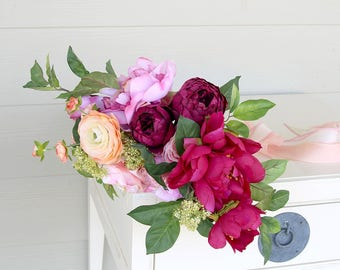 Garden Style Peony Wedding Bouquet | Pink Coral and Fuchsia | Loose Silk Flower Bridal Bouquet | SG-1035