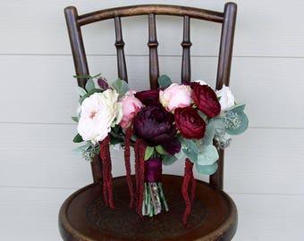Burgundy Bridal Bouquet | Moody Romantic Garden Style | Marsala, Wine, Burgundy, Pink and Cream | Silk Flower Wedding Bouquet | SG-1056