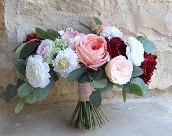 Bridal white and ivory loose silk flower wedding bouquet etsy large silk flower wedding bouquet burgundy coral pink and cream over sized garden style bridal bouquet sg 1054 mightylinksfo