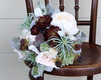 Faux Succulent Silk Flower Wedding Bouquet | Cream, Burgundy-Brown, Gray-Green, Mint | Desert Succulent Bridal Bouquet | SG-1045
