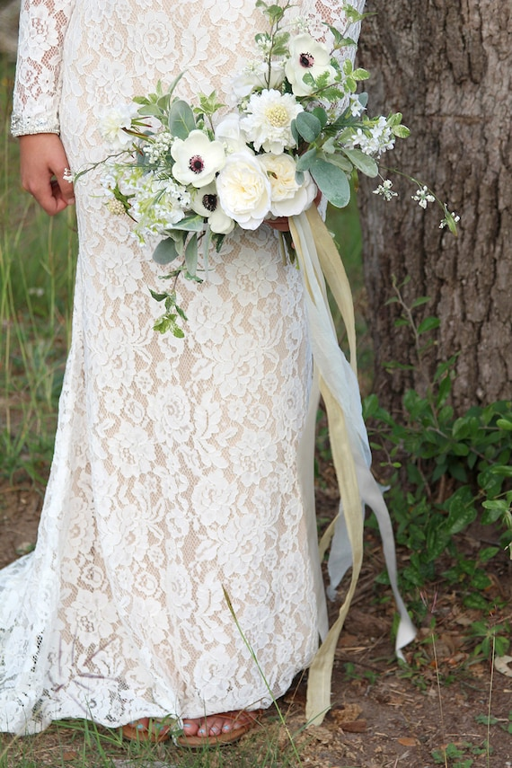 Wild loose boho white and cream wedding bouquet real touch etsy image 0 mightylinksfo