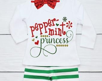 Girls Elf Christmas Outfit with Green Stripe Ruffle Pants and Christmas Shirt Baby Girl Christmas Ruffle Pants Outfit Size 2-6 yrs
