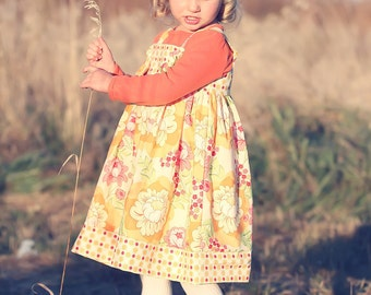 Girls Fall Pumpkin Rose Knot Dress