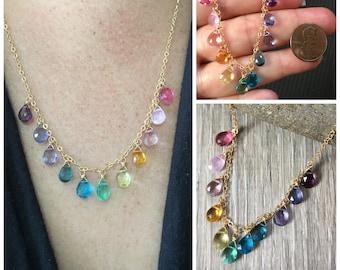 Rainbow Necklace Gold, Rainbow Gemstone Necklace, Multicolored Gemstone Necklace, Colorful Gemstone Necklace, Briolette Necklace for Women