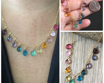 Rainbow Necklace for Women, Rainbow Gemstone Necklace Gold, Multi Drop Necklace, Colorful Gemstone Necklace, Ombre Rainbow Necklace, Anuenue