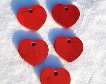Hand made cedar red hearts, set of 5 wood Valentine hearts, hand cut and hand painted, Valentine craft supplies