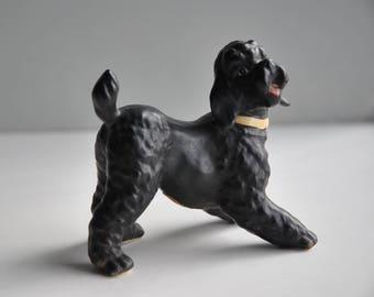Vintage 1960s Lefton black poodle dog figurine, happy & playful, excellent condition