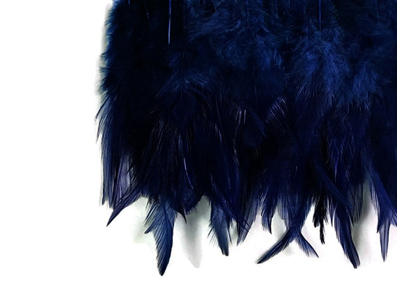 Strung Navy Blue Dyed Rooster Saddle Feathers  US Seller