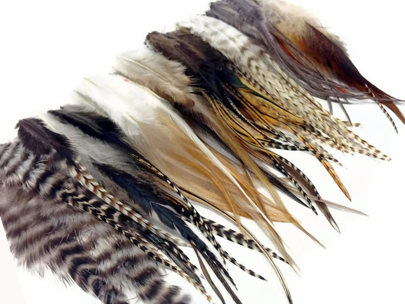 100 Pieces  Natural Tone Short Whiting Farm Rooster Hair image 0