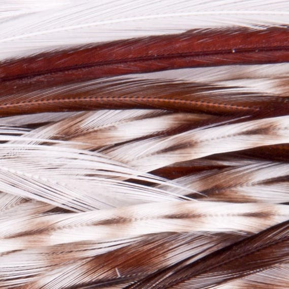 BROWN Thin Long Grizzly Rooster Feather /& Silicon Bead