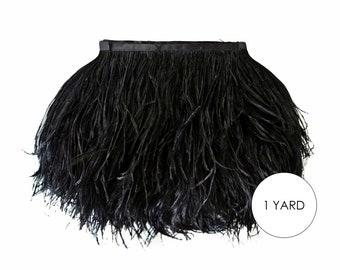 Black Ostrich Fringe, 1 Yard - Black Ostrich Fringe Trim Wholesale Feather (Bulk) : 2116