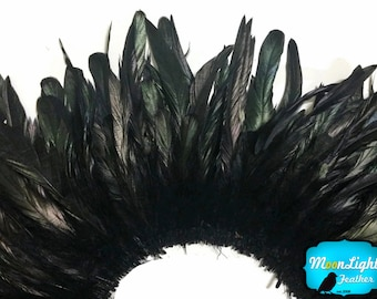 Tail Feathers, 2.5 Inch Strip - BLACK Strung Natural Bleach Coque Tails Feathers : 3551