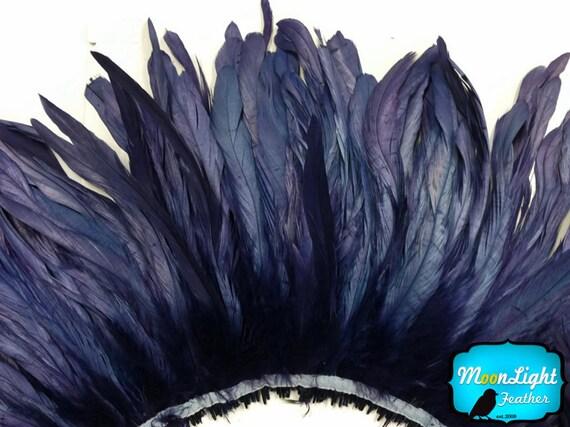 ORANGE Strung Natural Bleach Coque Tails Feathers 2.5  Inch Strip