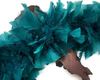 Large Feather Boa, 2 Yards - Peacock Green Heavy Weight Turkey Flat Feather Boa, 150 Gram : 5017