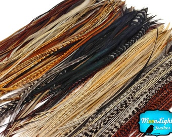 Hair Feathers, 100 Pieces - Wholesale Natural Thin Long Rooster Hair Extension Feathers (bulk) : 2335
