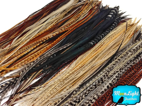 6 Pieces XL COACHMAN Brown Thin Rooster Hair Extension Feathers