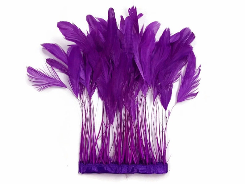 1 Dozen PURPLE Stripped Rooster Coque Tail Feathers Eyelash Feathers 537