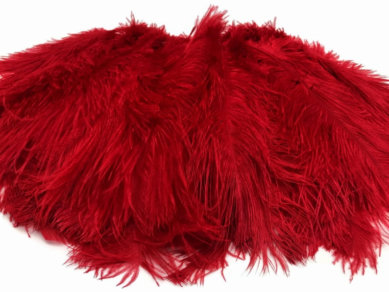 Large Wedding Feathers 19-24 Red Ostrich Dyed Drabs Body Feathers Party Centerpiece Costume Supplier 3607 10 Pieces