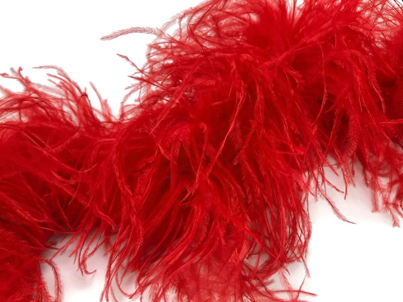 Red 3 Ply Ostrich Feather Medium weight Boa 2 Yards Ostrich Boa 4007
