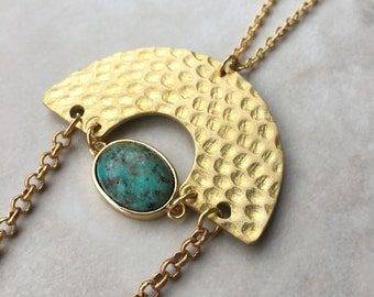 Hammered Stone Necklace | Brass | Gold Plated |