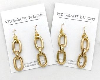 SALE | Chain Drop Earrings | Vintage Chain | Chain Earrings | Gold Chain Earrings | Chunky Chain | Simple Earrings | Brass Earrings |