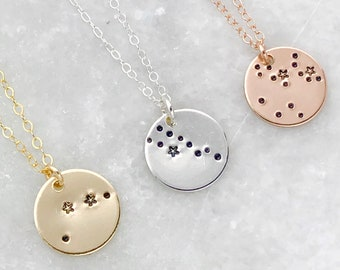Stamped Zodiac Constellation Charm Necklace | Circle Pendant | Coin | Star Sign | Gold Filled | Sterling Silver | Rose | Astrological