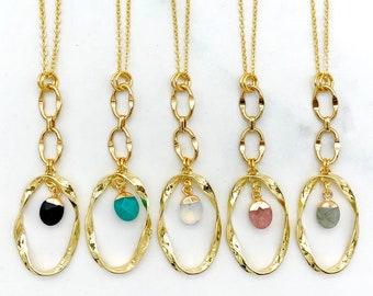 SALE | Stone Nugget Chain Pendant | Gold Plated | Long Necklace | Layering | Black | Teal Agate | Opalite | Rose Quartz | Labradorite