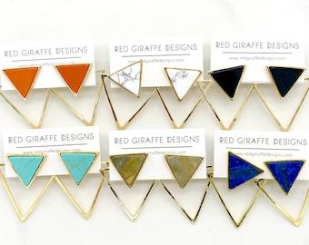 Large Triangle Ear Jackets | Statement Earrings | Bold | Gold Plated | Versatile | Geometric | Orange | White | Black | Teal | Green | Blue