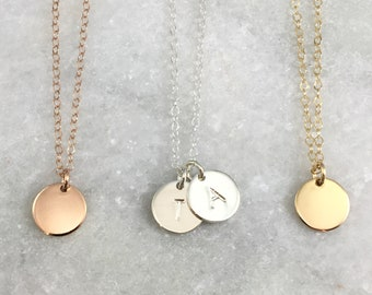 Customizable Small Disc Necklace | Hand Stamped | Personalization | Dainty Chain | Sterling Silver | Gold Filled | Rose Gold Filled