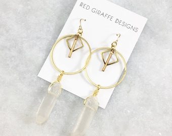 Brass Geometric Statement Earrings with Clear Quartz | Natural Stone | Boho Style | Bohemian | Statement Earrings | Open Shapes | Long
