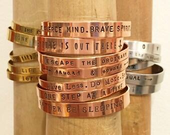 Mantra Cuff | Customize Your Bracelet | Hand-stamped Bracelet Cuff | Silver Brass or Copper | Custom Text | Custom Font | B90003
