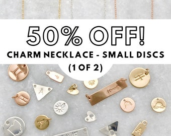 SALE | Pre-Stamped Premium Charm Necklace | Small Disc | Monogram | Symbol | Minimalist | Simple | Dainty Chain | Sterling | 14k Gold Filled