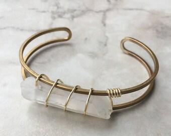 Quartz Wrapped Cuff Bracelet | Brass | Adjustable