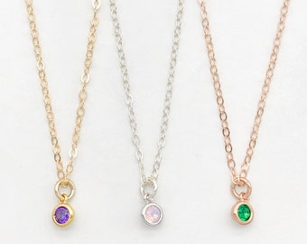 SALE | Birthstone Charm Necklace | Delicate Chain | Small CZ Charm | Sterling Silver | Rose Gold | Yellow Gold | Layering