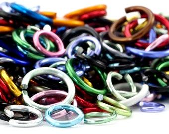 100 Aluminum Jump Ring Sample Pack ALL Gauges and Diameters - Random Mix - Top Shelf
