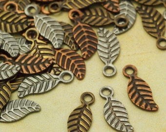 4 pcs  silver plated leaf Pendant drops 24X67mm