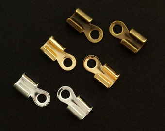 40 - 10mm X 5mm Fold Over Cord Ends - Silver Plated, Gold Plated, Antique Gold & Gunmetal - Best Commercially Made - 100% Guarantee