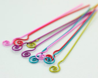 5 Fiddlehead Fern COLORFUL Handmade Headpins