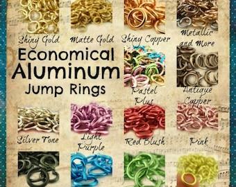 Aluminum Jump Rings 14 gauge 10mm OD Economical - 14 Colors